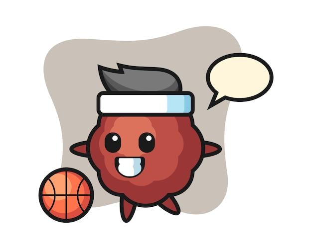 Il fumetto di polpetta sta giocando a basket