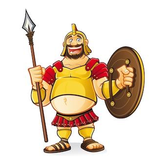 Il fumetto grasso di golia rideva divertito mentre impugnava una lancia e uno scudo