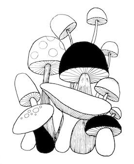 Il fungo scarabocchia il vettore per il libro da colorare. illustrazione isolata