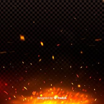 Il fuoco genera un effetto luminoso nel buio