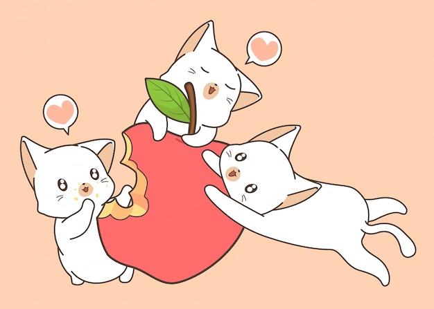 Il gatto adorabile sta mangiando una mela