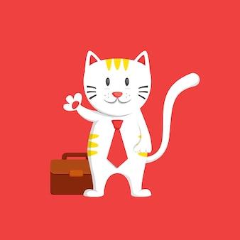 Il gatto degli affari dice ciao e agitando la mano