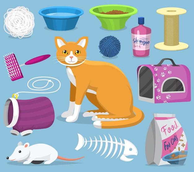 Il gatto gioca gli accessori degli animali domestici per la cura dei micio o il gioco del set felino della spazzola del gattino degli strumenti di toelettatura e della ciotola del gattino
