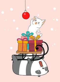 Il gatto kawaii disegnato a mano sta mantenendo una palla rossa