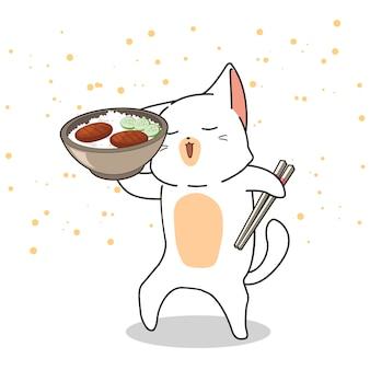 Il gatto kawaii disegnato a mano sta tenendo una ciotola di riso con carne