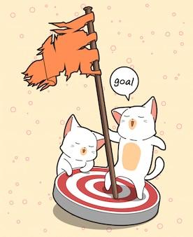 Il gatto kawaii tiene in mano una bandiera e sta sul palco