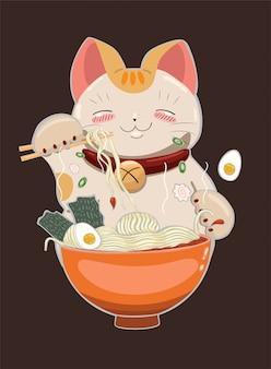 Il gatto mangia spaghetti ramen con le bacchette. grafica.
