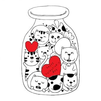 Il gatto scarabocchia nella coloritura dell'illustrazione della bottiglia per il san valentino felice