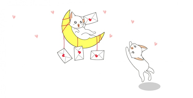 Il gatto sta tenendo la lettera d'amore sulla luna