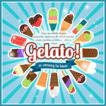 Il gelato ha scoppiato la retro illustrazione di vettore del manifesto di pubblicità