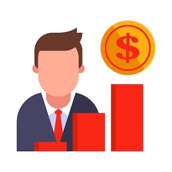 Il gestore mostra una crescita delle vendite su un grafico.