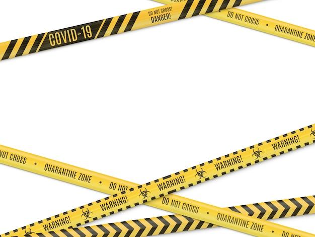 Il giallo che si intersecano in un nastro di scherma di avvertimento striscia nera su sfondo bianco. rischio biologico.