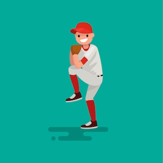 Il giocatore del lanciatore di baseball lancia l'illustrazione della palla