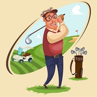 Il giocatore di golf gioca a golf, illustrazione di cartone animato con gli attributi del gioco: borsa per mazze, auto elettrica e territorio del campo sportivo.