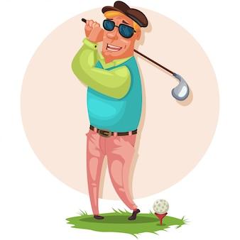Il giocatore di golf in occhiali da sole è in piedi sull'erba con un bastone per un giocatore di golf.