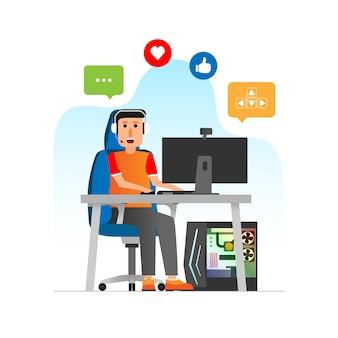 Il giocatore e lo streaming live in grafica semplice