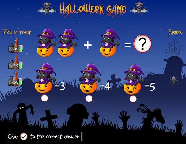 Il gioco conta la zucca strega gatto nel tema di halloween