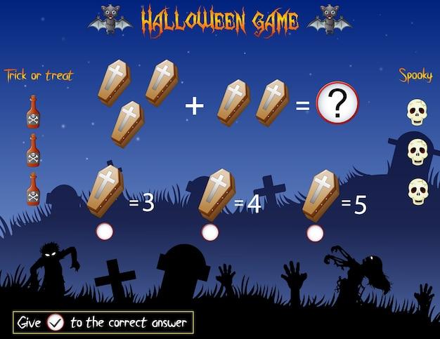 Il gioco conta le bare nel tema di halloween