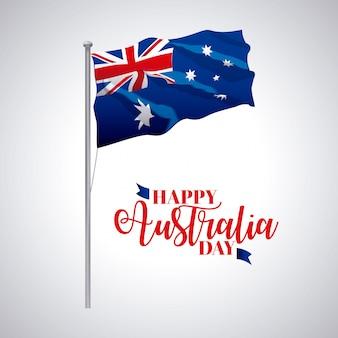 Il giorno dell'australia, bandiera dell'onda della bandiera celebra l'illustrazione della data