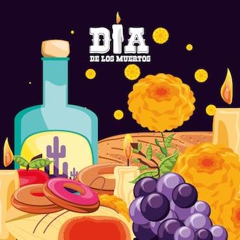 Il giorno della festa dei morti in bottiglia di tequila