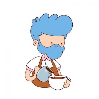 Il giovane barista divertente sveglio produce il caffè. personaggio dei cartoni animati illustrazione icona design.isolato su sfondo bianco