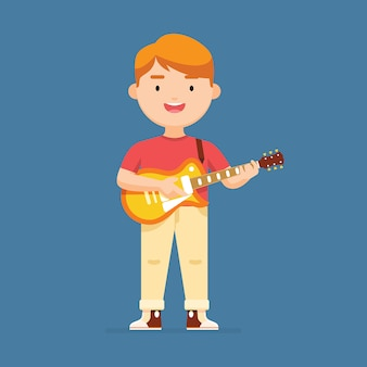 Il giovane ragazzo sta giocando l'illustrazione del carattere della chitarra
