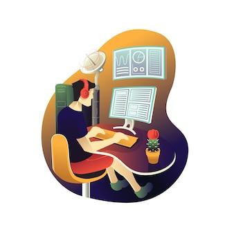 Il giovane si siede e dati di lavoro analitici sull'illustrazione del computer