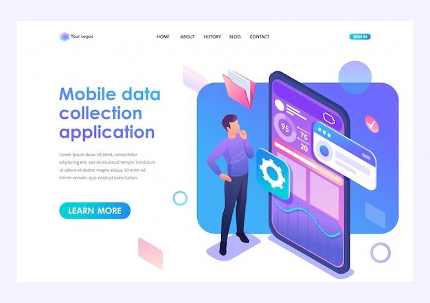 Il giovane sta sviluppando un'applicazione mobile per la raccolta dei dati. concetto di tecnologie moderne. 3d isometrico. concetti sulla pagina di destinazione e web design
