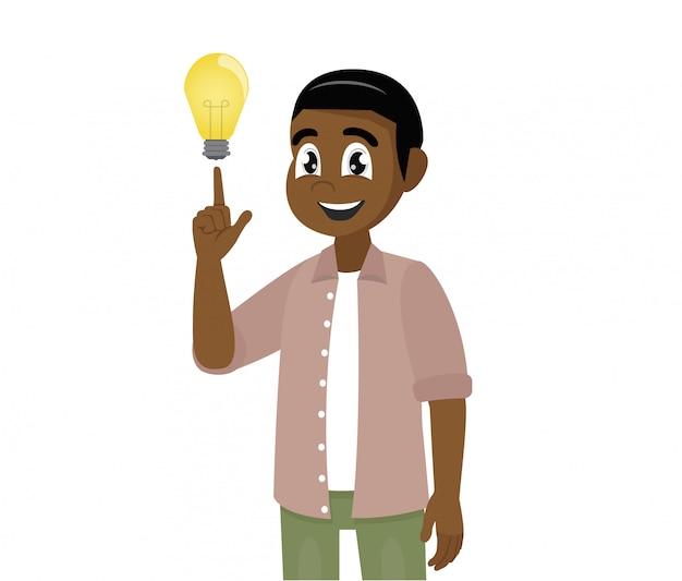 Il giovane uomo africano mostra il gesto. soluzione del problema una grande idea.