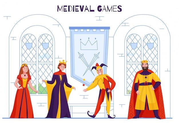 Il giullare medievale della corte del regno in cappello degli sciocchi che intrattiene il monarca divertente che scherza scherzando i caratteri reali variopinti piani vector l'illustrazione
