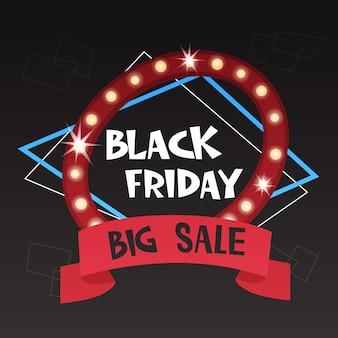 Il grande striscione di vendita di black friday offre uno stile retrò