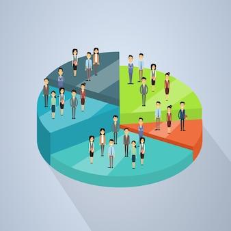 Il gruppo della gente di affari sta sul diagramma a torta