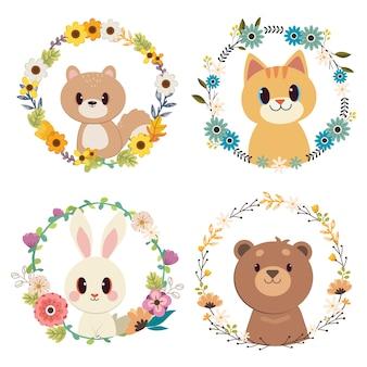 Il gruppo di animali con set di anelli di fiori.