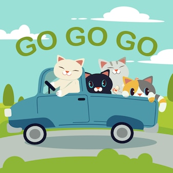 Il gruppo di carattere simpatico gatto guida un'auto blu per andare al viaggio