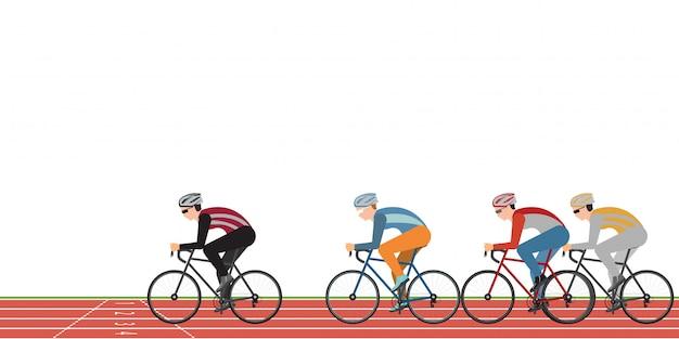 Il gruppo di ciclisti equipaggia nella corsa della bicicletta della strada sulla pista atletica isolata su bianco