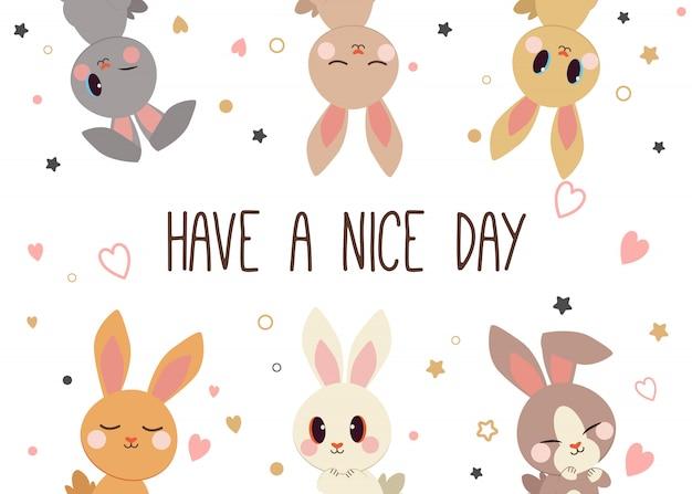 Il gruppo di coniglio simpatico personaggio dei cartoni animati.