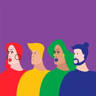Il gruppo di persone variopinto vector l'illustrazione