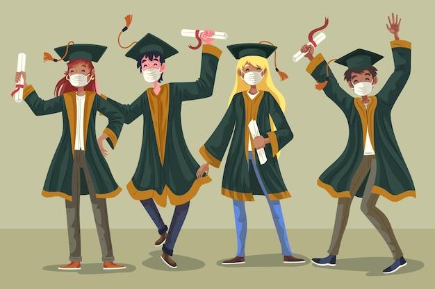 Il gruppo di studente che celebra la loro laurea ha illustrato