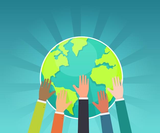 Il gruppo di uomo d'affari conserva il vettore di concetto della terra
