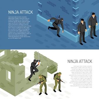Il guerriero del carattere del ninja dei videogiochi attacca i soldati e gli agenti civili, illustrazione isometrica orizzontale di vettore delle insegne