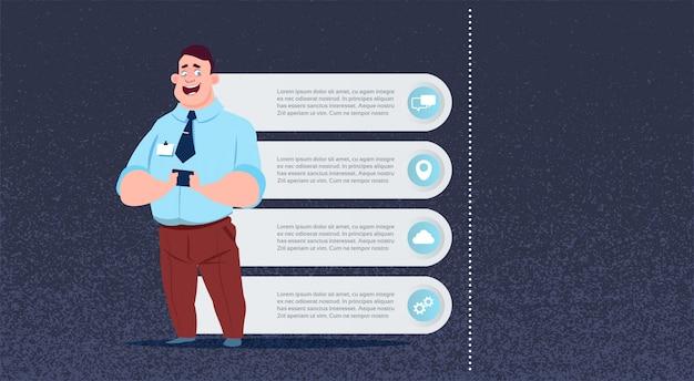 Il infographics dell'uomo di affari ha messo per il concetto di seminario di riunione della presentazione