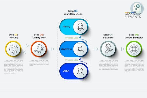 Il infographics di cronologia dell'albero di affari può essere usato per la disposizione di flusso di lavoro, il diagramma, il modello di web design.