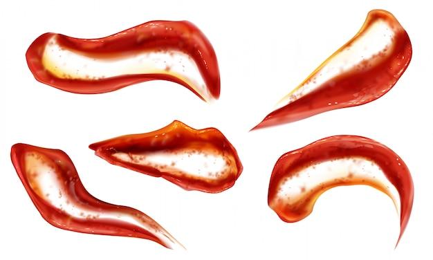 Il ketchup spruzza vista dall'alto, macchie di salsa di pomodoro