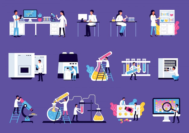 Il laboratorio ha messo con le immagini isolate della mobilia dell'attrezzatura di laboratorio con liquidi colorati e caratteri umani degli scienziati