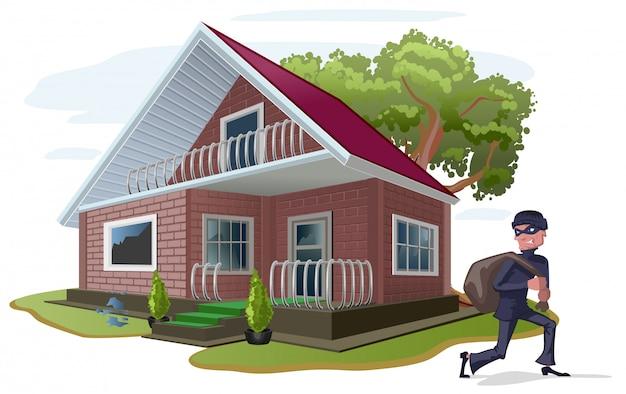 Il ladro ha derubato la casa di campagna. assicurazione sulla proprietà