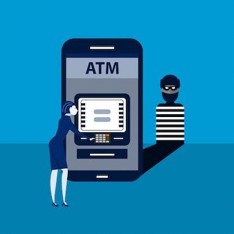 Il ladro rimette a posto lo smart phone con il sistema terminale di paga della donna illustrazione isometrica.