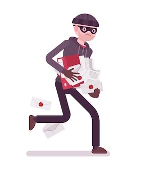 Il ladro sta scappando con documenti rubati