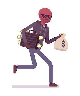 Il ladro sta scappando con i soldi rubati