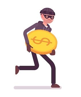 Il ladro sta scappando con una moneta d'oro rubata
