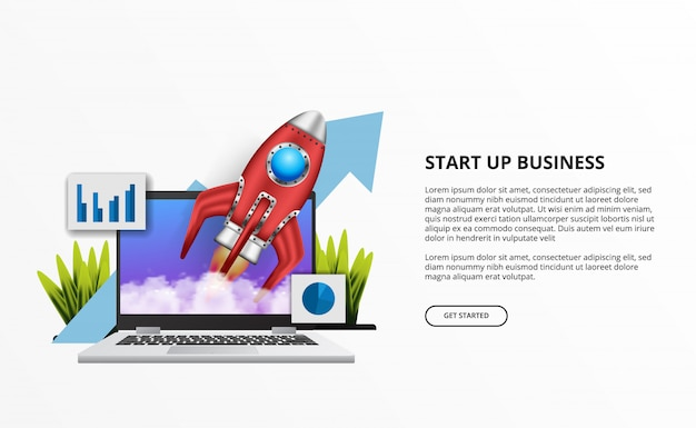 Il lancio di un razzo 3d per le imprese inizia con il computer portatile sulla scrivania